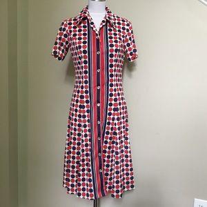Vintage 70s SERBIN of FLORIDA polka dot dress S